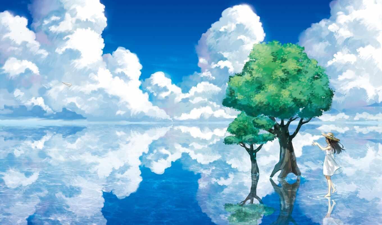 деревя, art, anime, девушка, water, отражение, озеро, landscape,