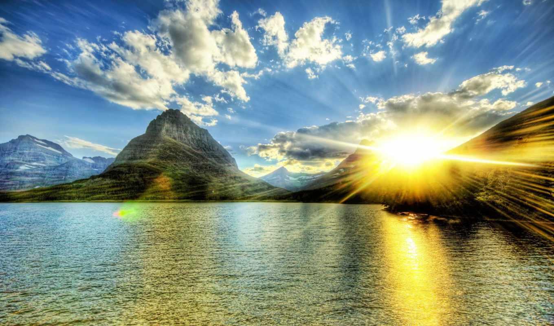 sun, закат, озеро, oblaka, небо, гора, свет, со, озером, солнца, rays,