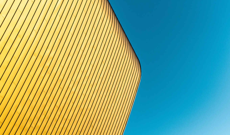 building, pantalla, amarillo, azul, небо, минимализм, blue, oro, con
