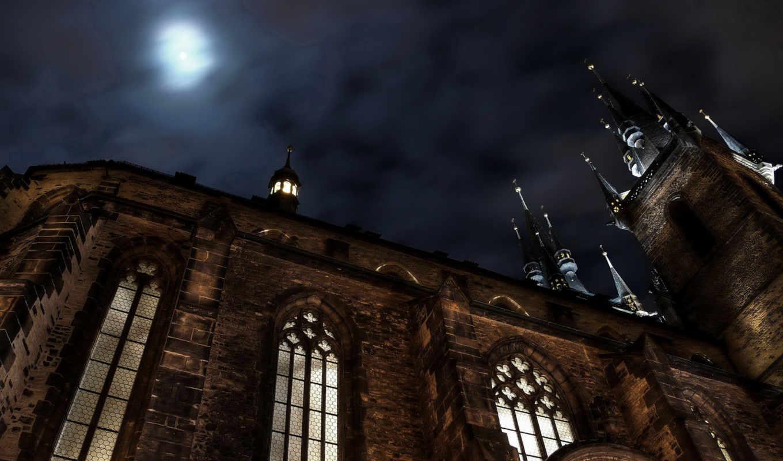 cathedral, castle, below, ракурс, tyn, rarewallpapers, widescreen, desktop, scenery, www, night, нравится,