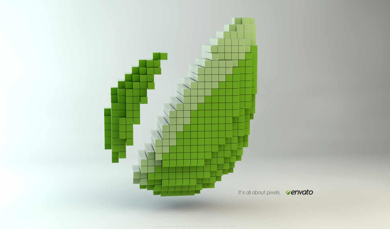 пиксели, листок, зелёный, кубики, envato, tech, объем, pixels, iphone,