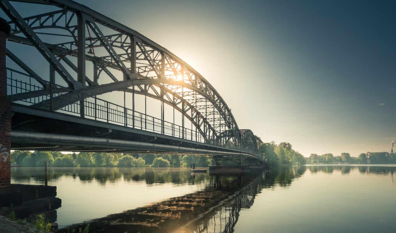 мост, солнце, река, смотрите, картинку, картинка,