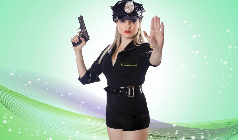 devushka, полицейский, devushki, пістолет, униформа,