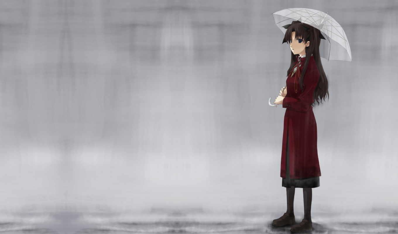 anime, дождь, деревья, девушка, грустит, скамейка,