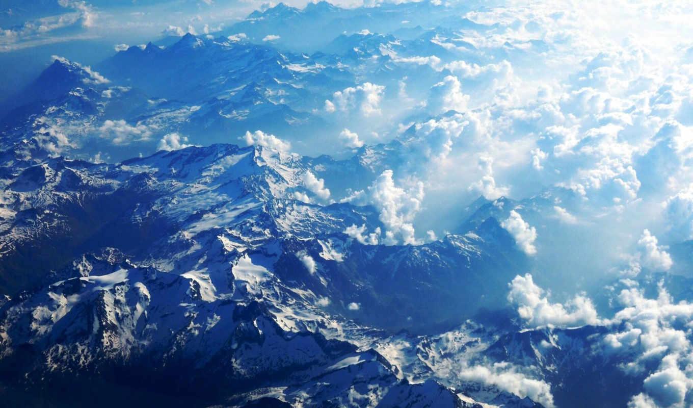 ,горы,облака, полет,