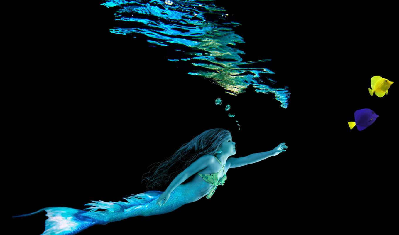 русалка, water, fish, fantasy, blue, desktop, yellow,