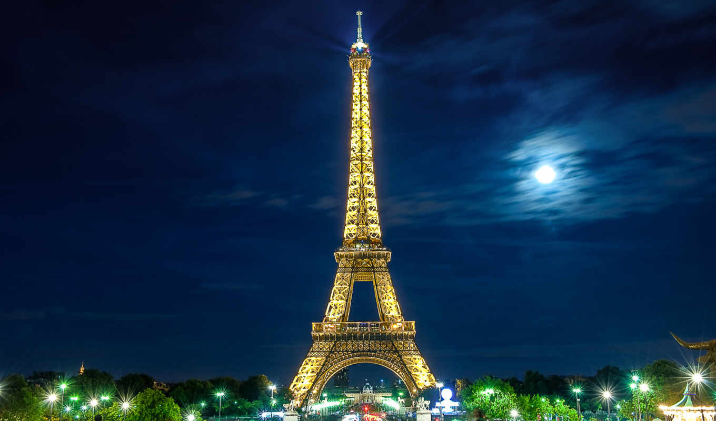 , эйфелева, башня, париж, ночь,