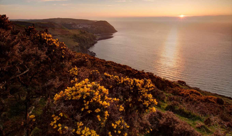 горы, природа, море, рассветы, закаты, landscape, небо, дома, morze, побережье,