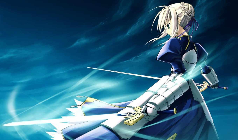 fate, anime, девушка, stay, ночь, меч, ветер, art, saber,