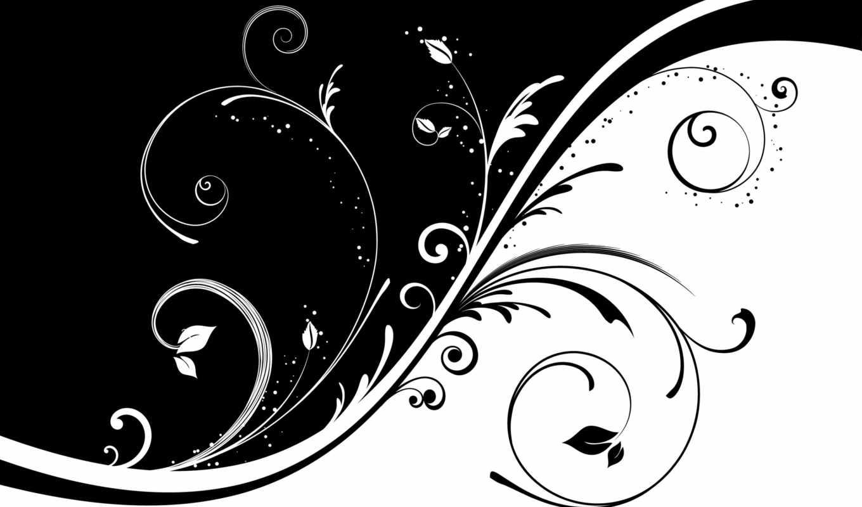 чёрно, белая, узор, завитки, black, white, белое, desktop, чёрное, background,