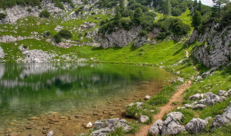 озеро, трава, зелень, камни, горы, тропинка, холмы, картинка,