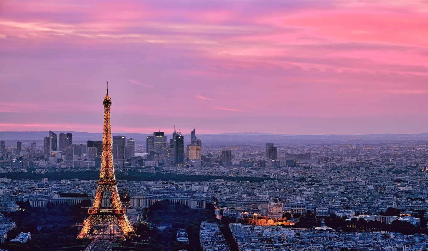 paris, eiffel, tower, sky, pink,