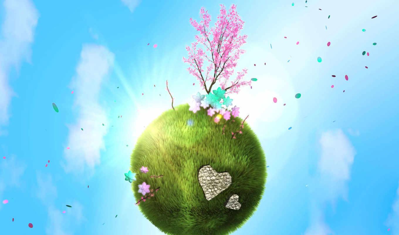 весна, планета, любовь, зелёная, деревце, планете,