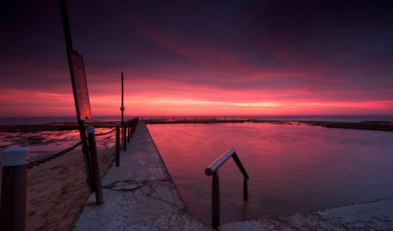 вечер, небо, закат, пляж, тучи, сумерки, австралия,