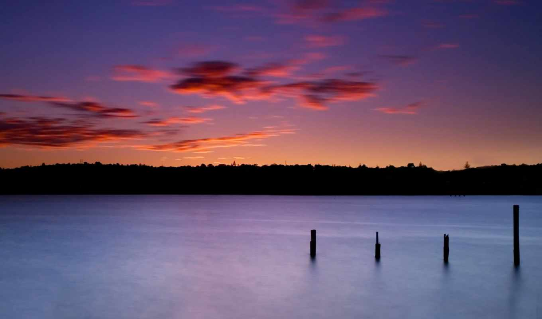 природа, закат, озеро,