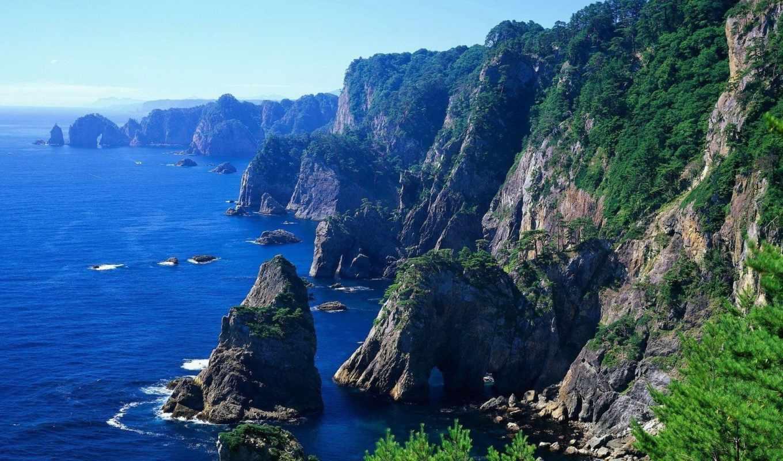горы, ocean, берег, природа, море, water, остров, land, небо, просмотров, рифы,