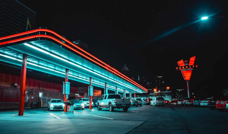 neon, car, вести, парковка, подсветка