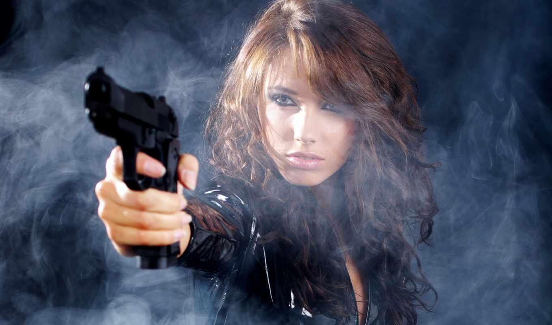 обои, дым, девушка, пистолет, smoke