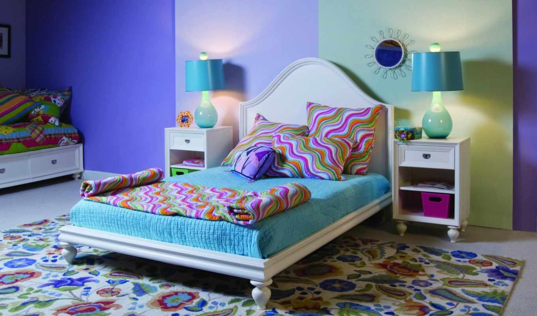 интерьер, комната, кровать, узор, квартира, подушки, другие, смотрите,