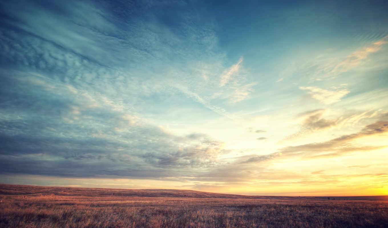 небо, взгляд, рассвет, трава, landscape, красиво,