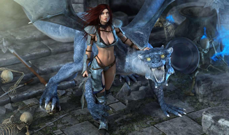 дракон, девушка, черепа, нов,