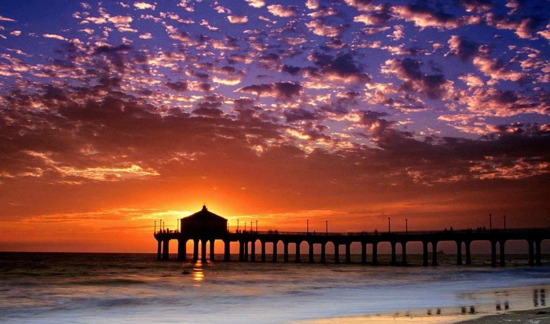 california, пляж, закат,