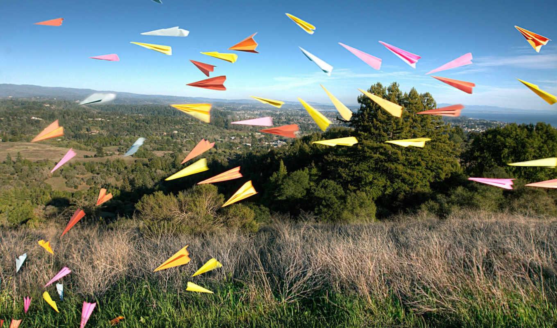 бумажные, самолетики, оригами, взгляд, полет,