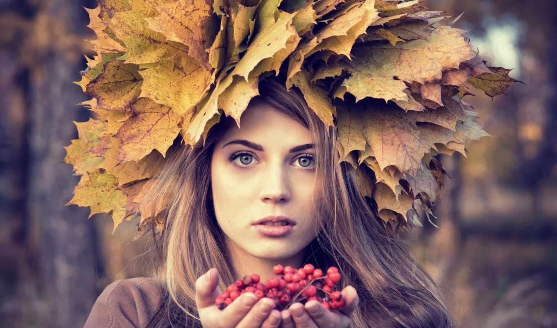 девушка, осень, голове, разных, руках, статуэтка, ягоды, рябина, веночком, рябиной,