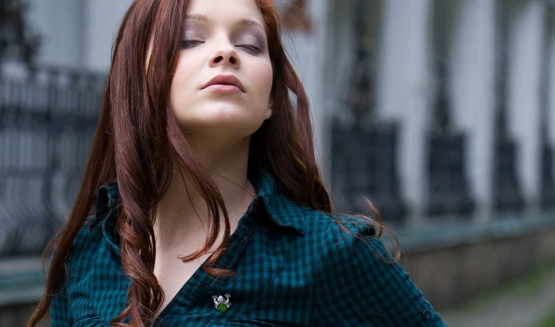 women, eyes, волосы, closed, long, redhead, redheads, глаза, модель, indiana,