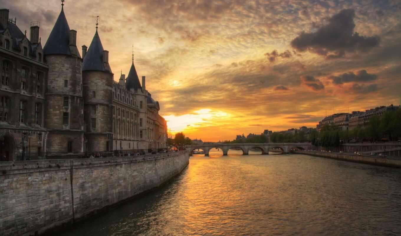 build, закат, река, мост, взгляд, париж, recommend, очень, vint, отдых, франция