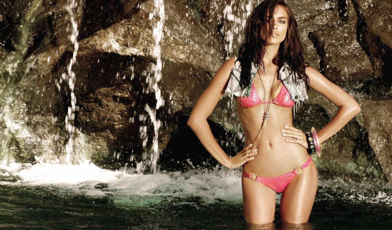 irina, shayk, купальник, вода, водопад, sexy, шейк, модель, lingerie, girls,