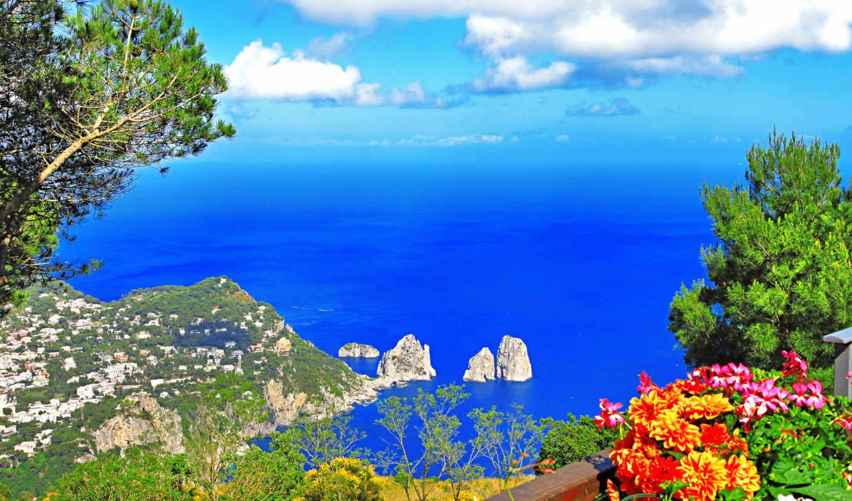 анакапри, capri, anacapri, italy, provincia, napoli, картинку, картинка, природа, море, кнопкой, мыши,
