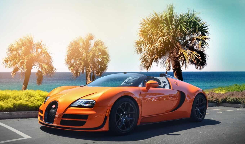 гиперкар, bugatti, veyron, оранжевый, пляж,