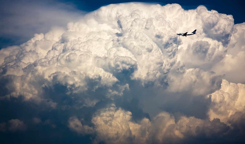 самолет, oblaka, небе, небо, самолеты,
