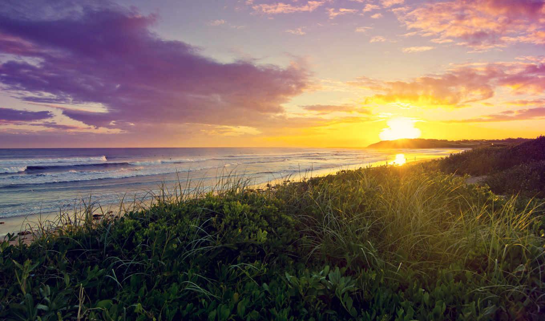 soleil, fonds, ecran, plage, эр, lever, coucher,