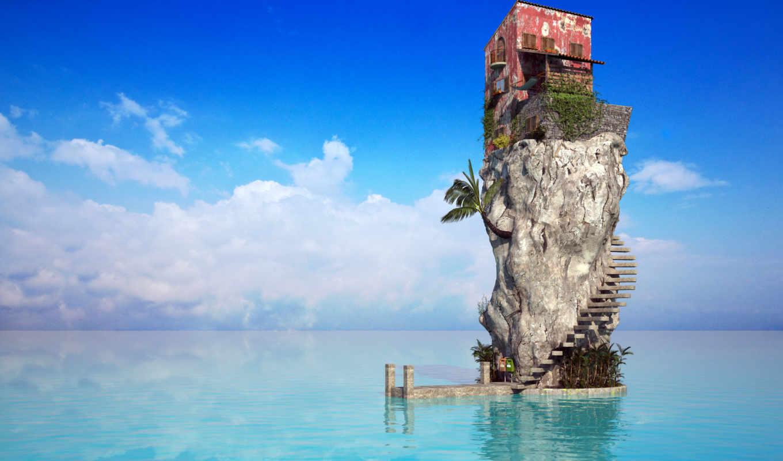 ocean, rock, море, water, пальмы, пляж, house, голубая,