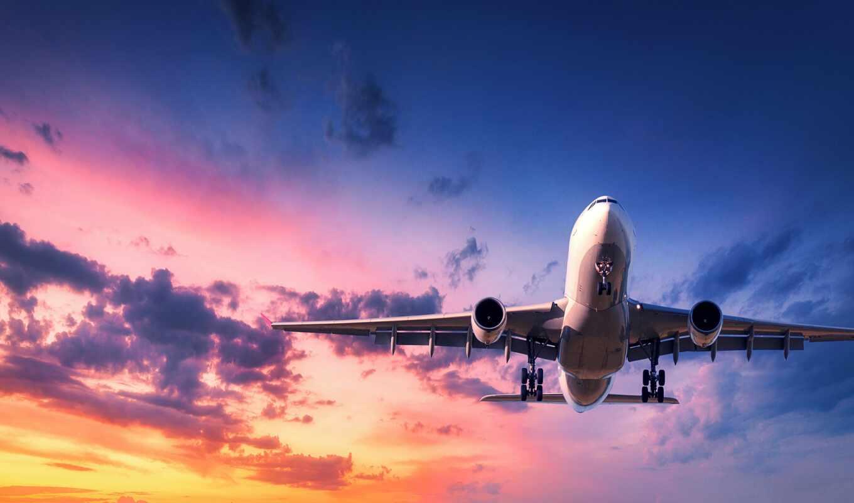 небо, облако, fly, закат, plane, полет, sun, пассажирский