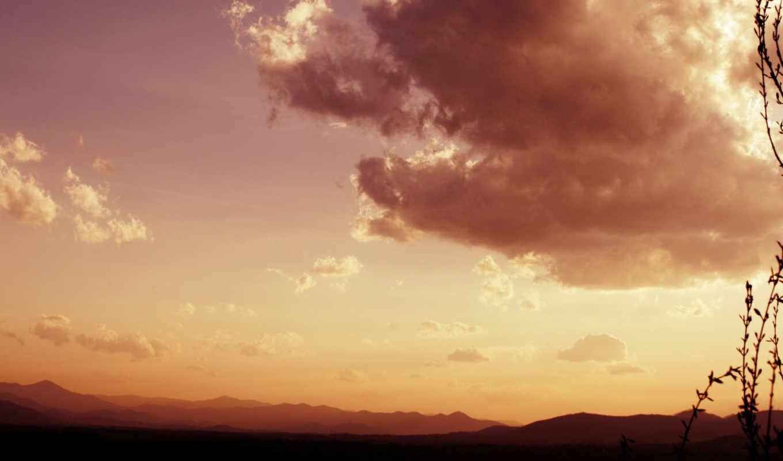 пейзаж, облака, небо, трава, растения, вечерний, sunset, nature, mountain, clouds,