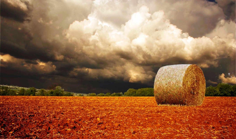 ,поле, облака, тюк, салома,