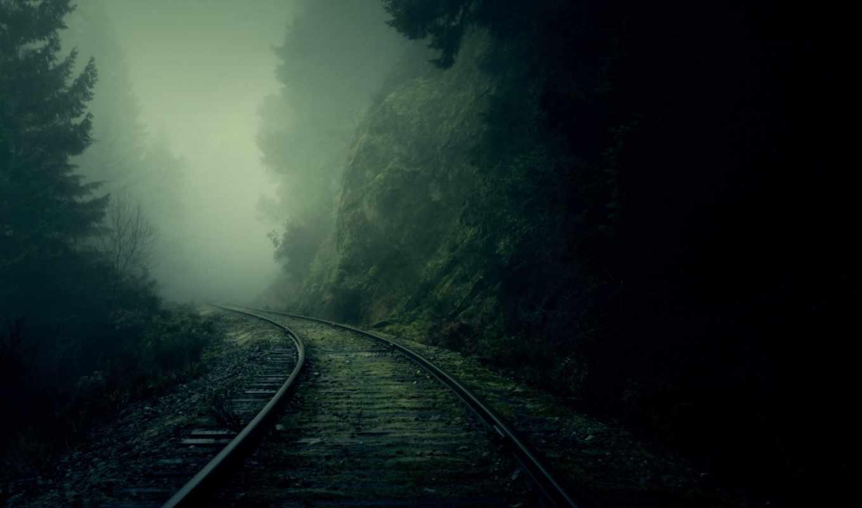 туман, лес, рельсы, dark, nature, поворот, дорога, железная, download, картинка,