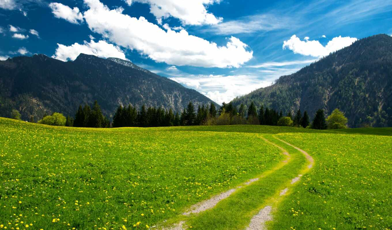 mountains, pasture, trees, bavarian, alps, landscape, sky, clouds, картинка,