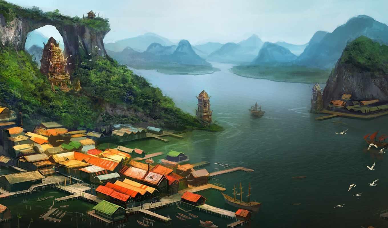 море, вид, art, дома, pier, острова, корабль, arvalis, храм,
