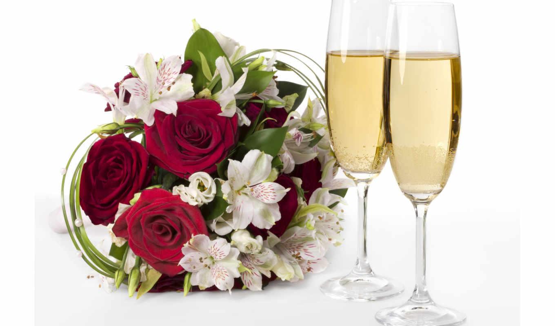 шампанское, цветы, розы, очки, букет, взгляд, лилии,