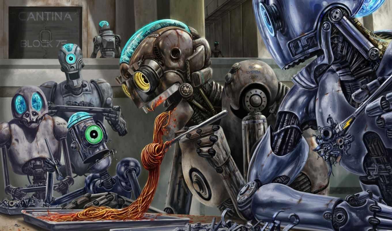 robots, spagetti, eating, shock