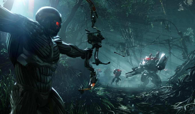 crysis, оружие, игра, робот, лук, воин,