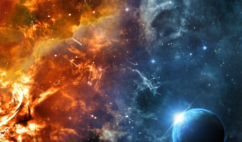 планета, туманность, картинка, blackberry, метеорит, destruction, world, имеет, горизонтали, вертикали, космос,