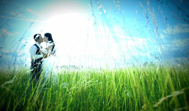 влюбленная, пара, природа,