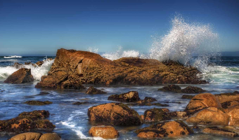 море, камни, волна, картинка, брызги, волны, берег, небо,
