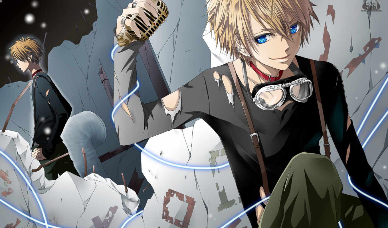 anime, парень, музыка, микрофон, вокалоид, голубые, глаза,