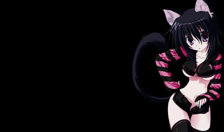 anime, девушка, кот, кошки, девушки,